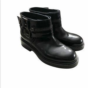 Aquatilia Sz 6.5 Black Leather Booties Moto